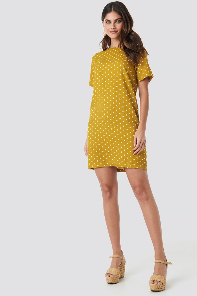 Round Dotted Mini Dress Yellow/White Dot