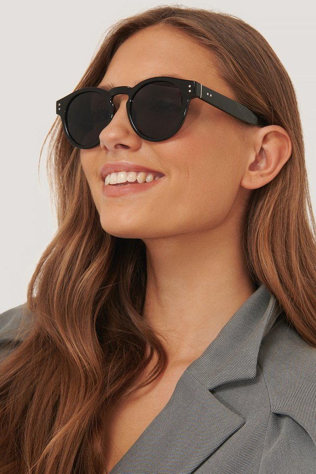 Round Frame Sunglasses Black