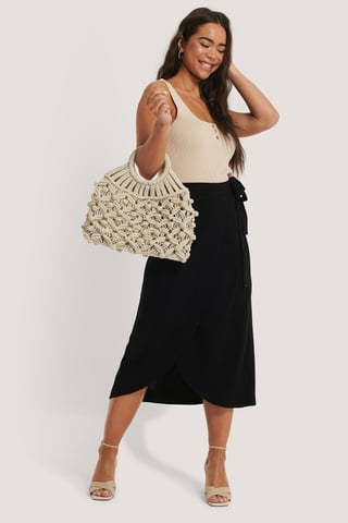 Natural Round Handle Macrame Bag