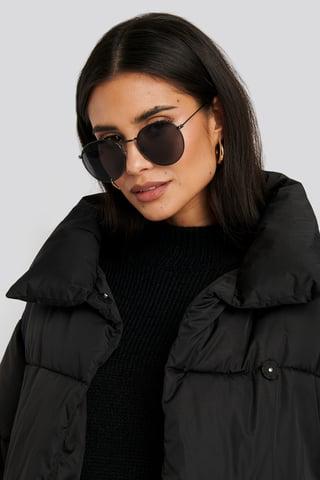 Black Black Round Metal Sunglasses