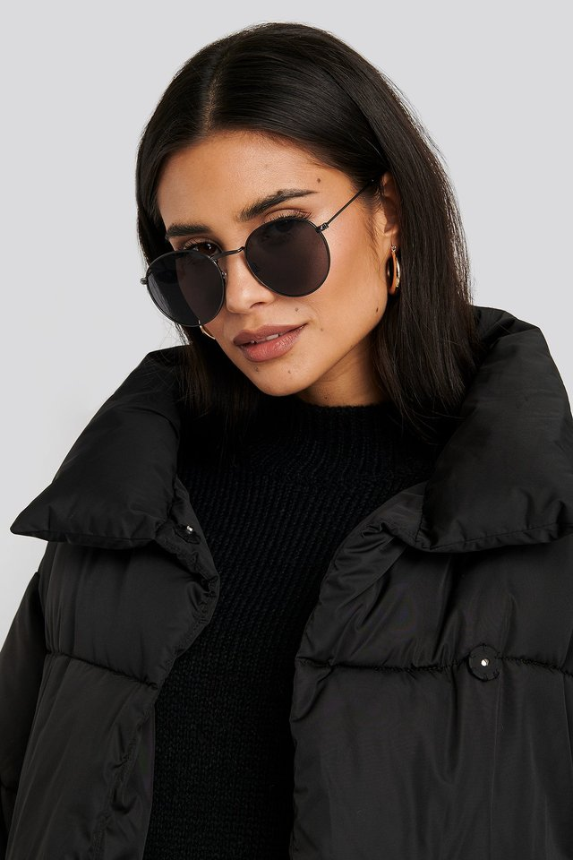 Black Black Round Metal Sunglasses