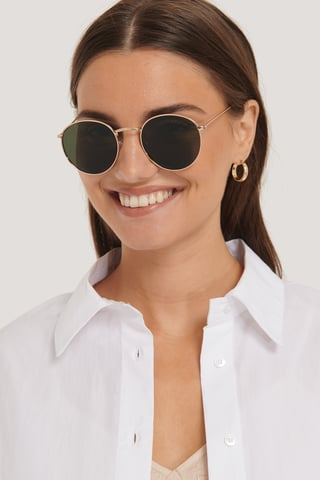 Gold/Green Round Metal Sunglasses