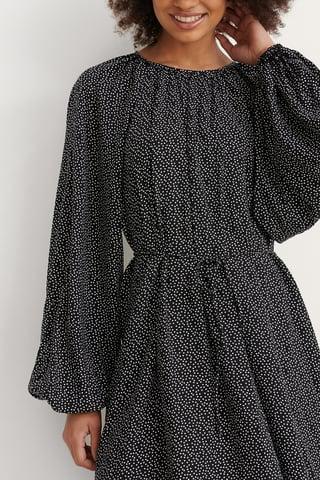 Polkadot Black/White Round Neck Belted Flowy Dress