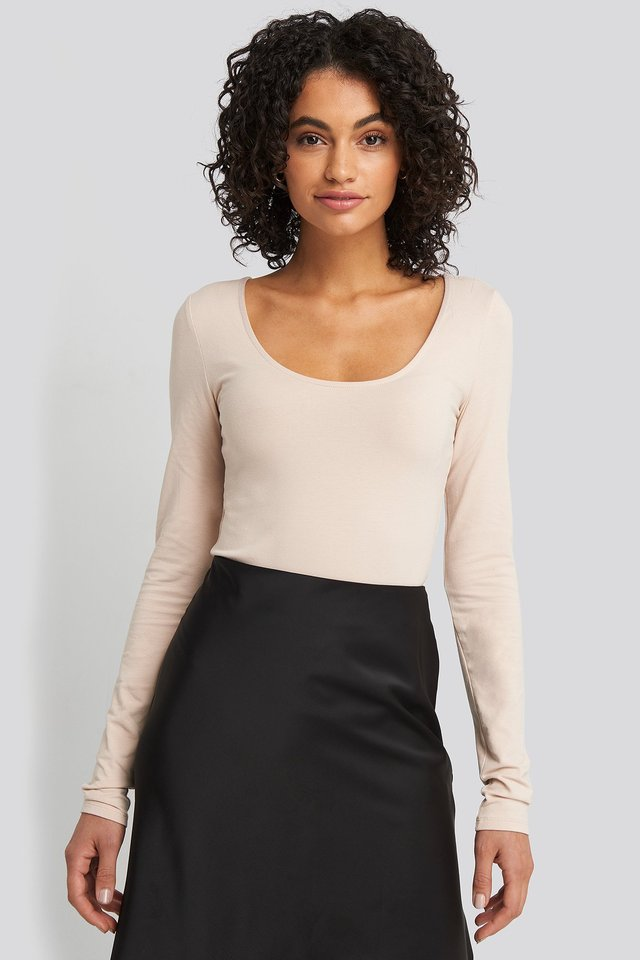 Round Neck Body Dusty Light Beige