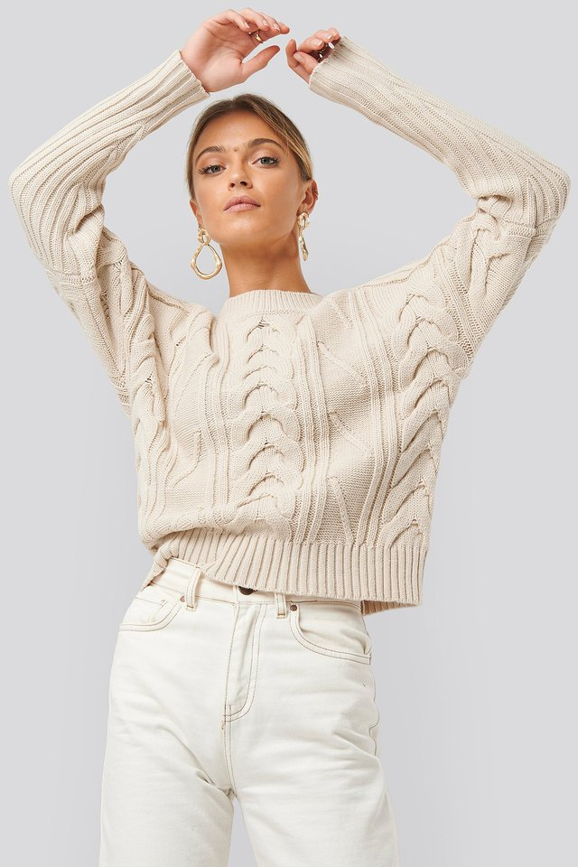 Round Neck Cable Knitted Sweater Beige