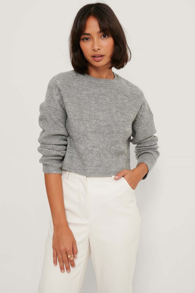 Round Neck Cable Knitted Sweater Grey
