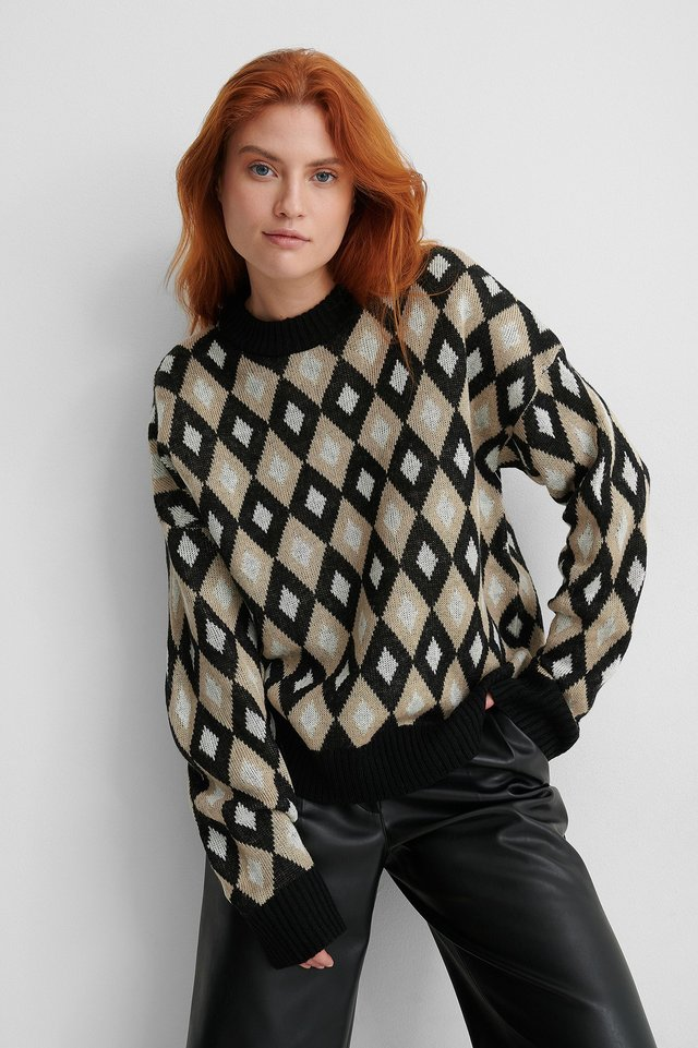 Round Neck Checked Knitted Sweater Checked
