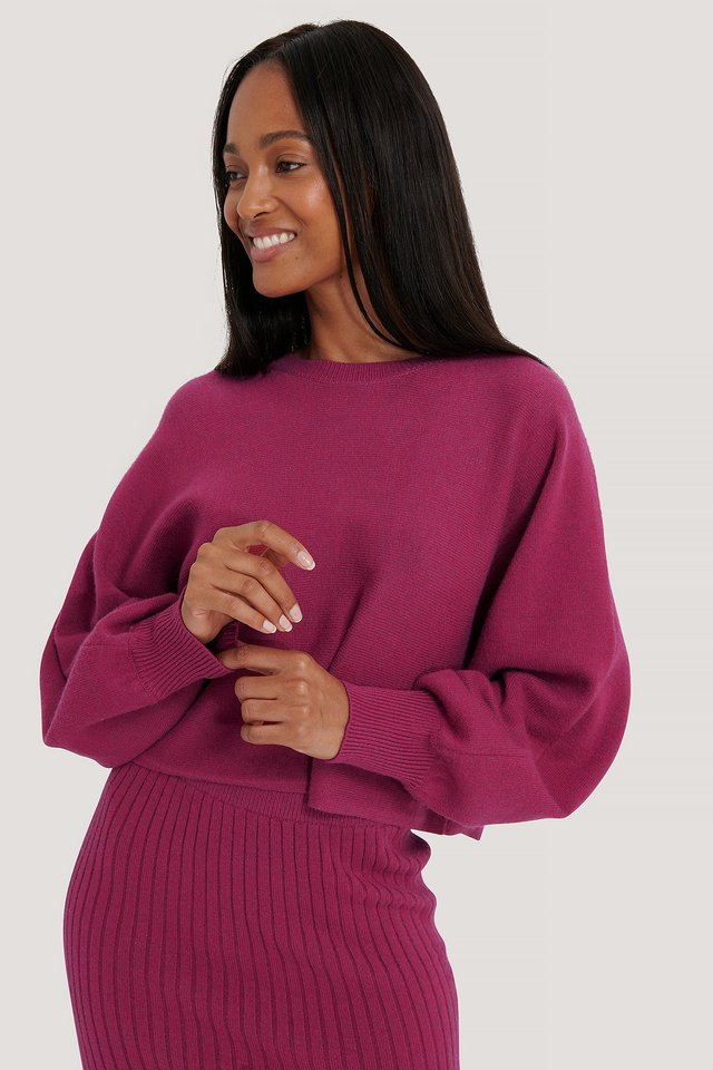 Round Neck Cropped Knitted Sweater Dark Rose