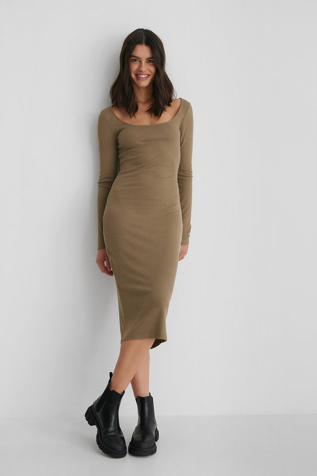 Light Brown Round Neck Rib Dress
