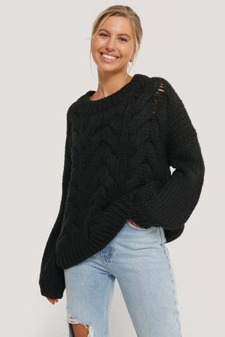 Black Wool Blend Round Neck Heavy Knitted Cable Sweater