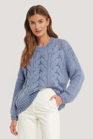 Stone Blue Wool Blend Round Neck Heavy Knitted Cable Sweater