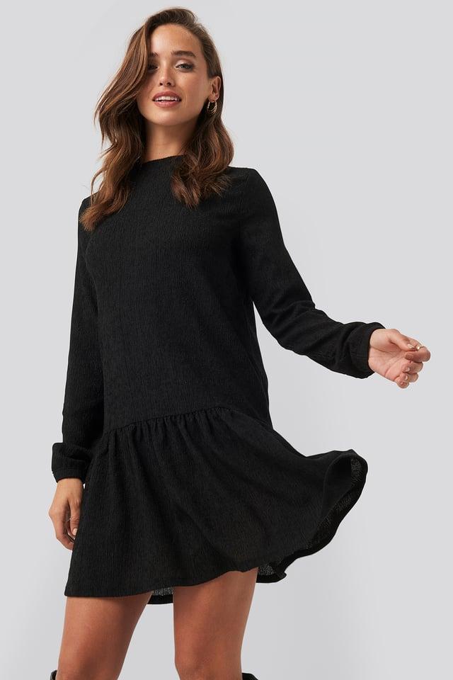 Round Neck Jersey Dress Black