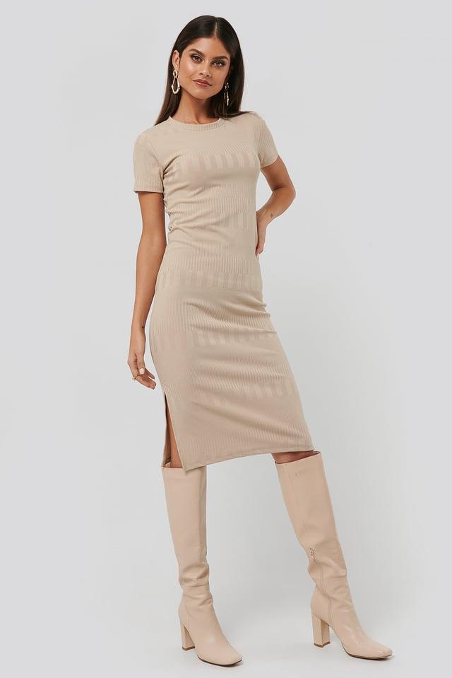 Round Neck Knit Dress Beige