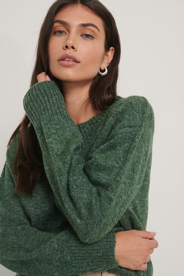 Dark Green Round Neck Knitted Sweater
