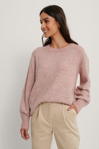 Pink Melange Round Neck Knitted Sweater