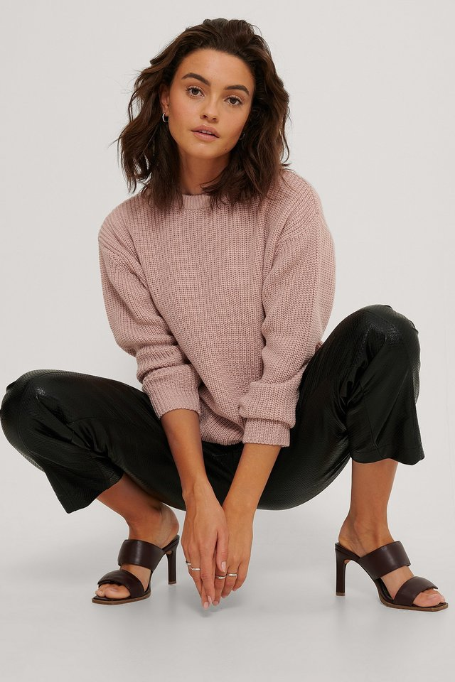 Dusty Pink Round Neck Knitted Sweater