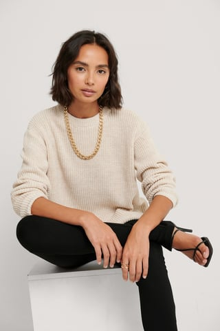Light Beige Round Neck Knitted Sweater