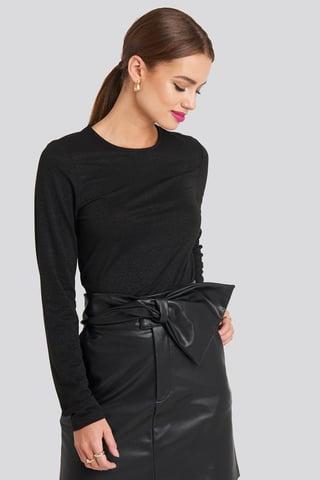 Black Round Neck Long Sleeve Top