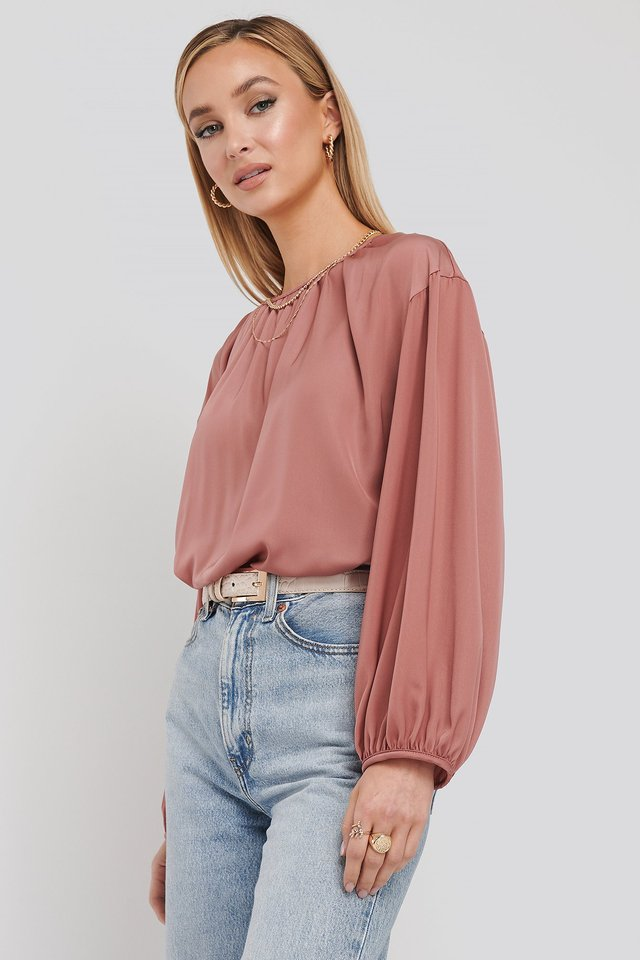 Round Neck Peasant Blouse Dark Pink
