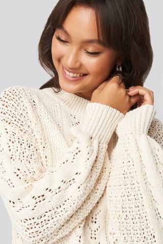 White Round Neck Pointelle Sweater