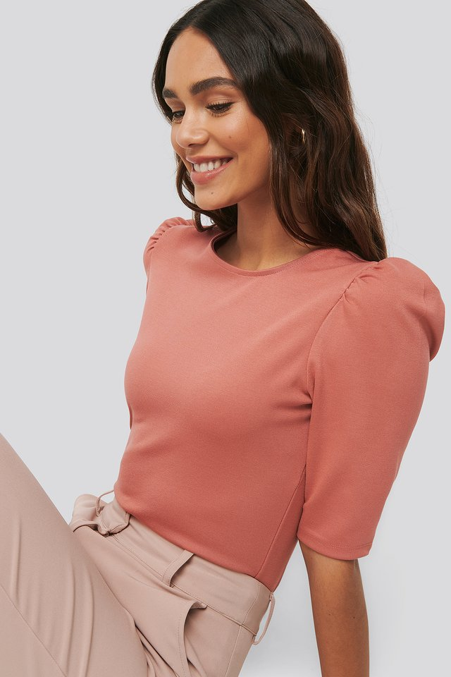 Round Neck Puff Sleeve Top Dusty Rose