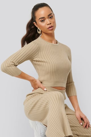 Beige Round Neck Ribbed Knitted Sweater