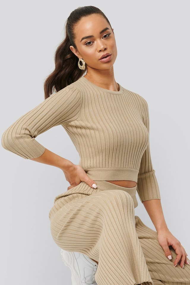 Round Neck Ribbed Knitted Sweater Beige