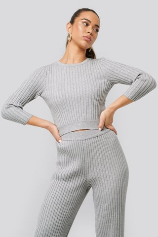 Grey Melange Round Neck Ribbed Knitted Sweater