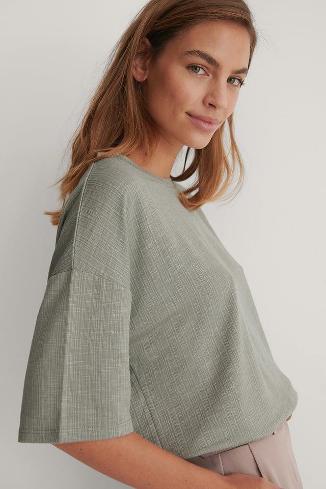 Khaki Ribbet T-Skjorte Med Rund Utringning