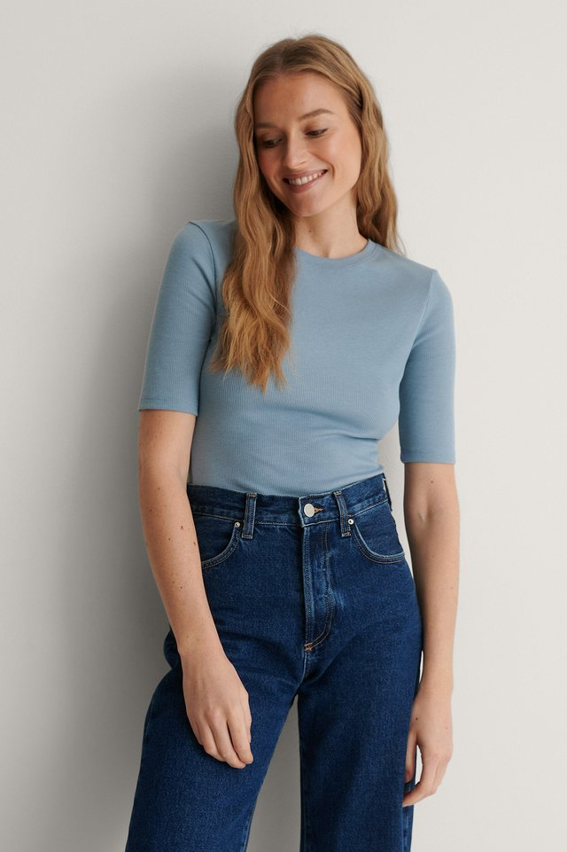 Faded Denim Round Neck Ribbed Top