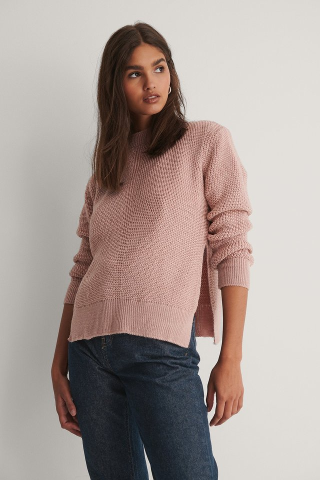 Round Neck Side Slit Knitted Sweater Dusty Pink