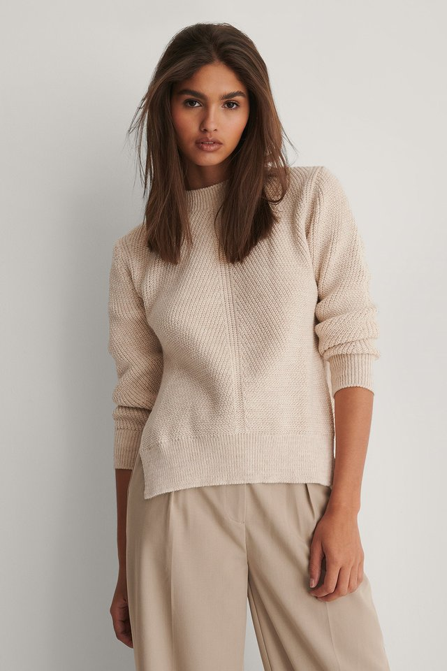 Round Neck Side Slit Knitted Sweater Light Beige