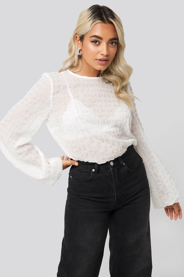 Round Neck Structured Blouse White