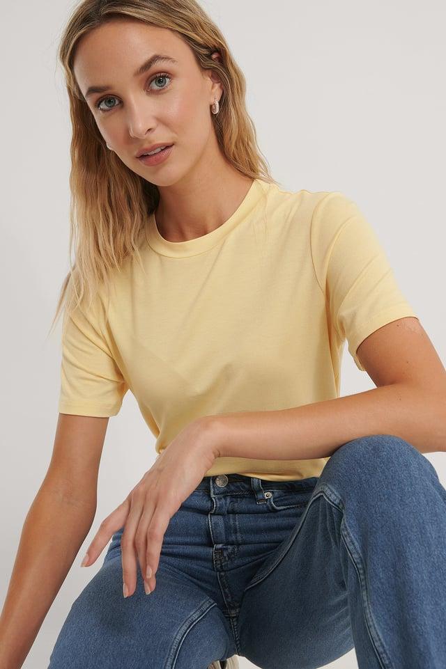 Light Yellow Roundneck Tencel Tee