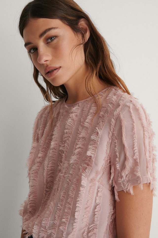 Dusty Pink Round Neck Textured Top