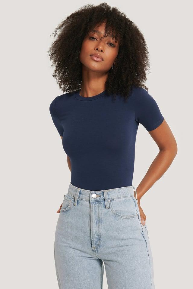 Dark Navy Roundneck Tight Fit Basic T-Shirt