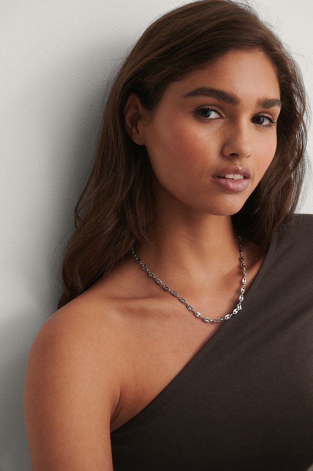 Rounded Chain Necklace Silver