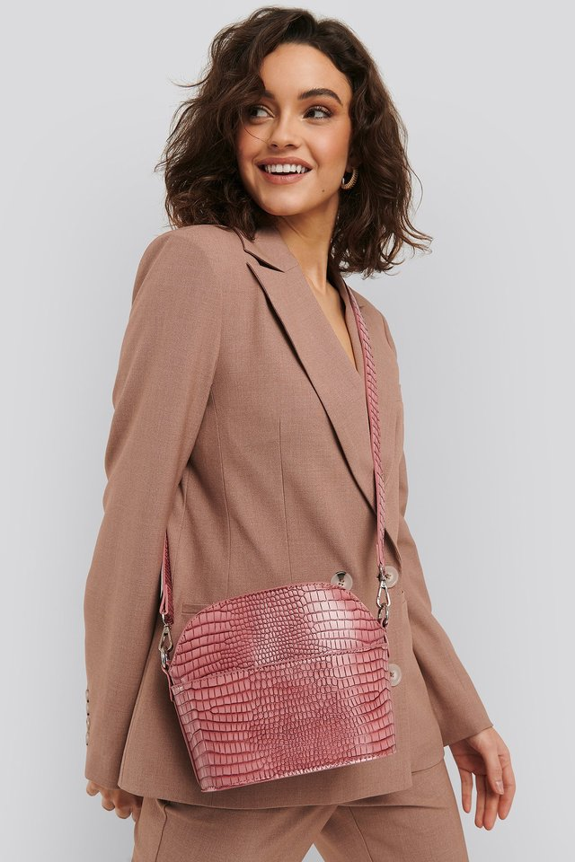 Dusty Pink Rounded Croc Crossbody Bag