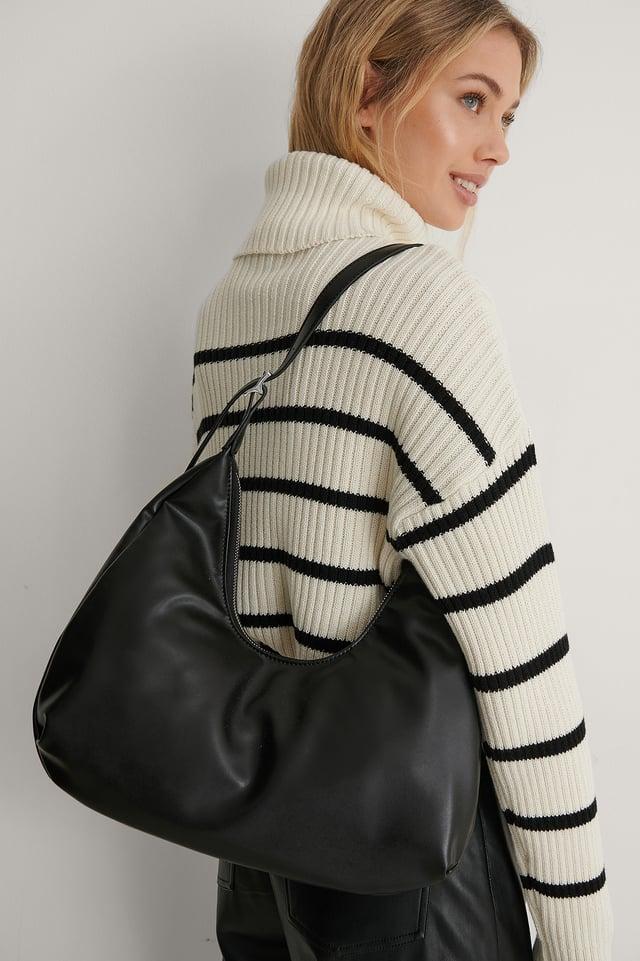 Black Recycled Rounded Shoulder Bag