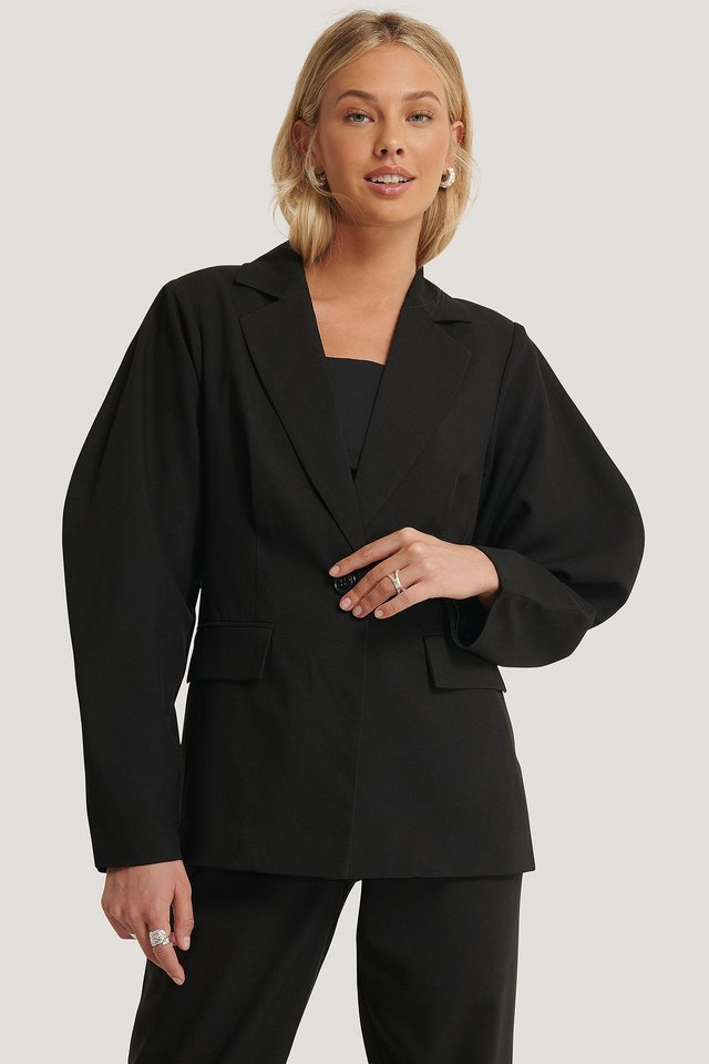 Rounded Shoulder Blazer Black