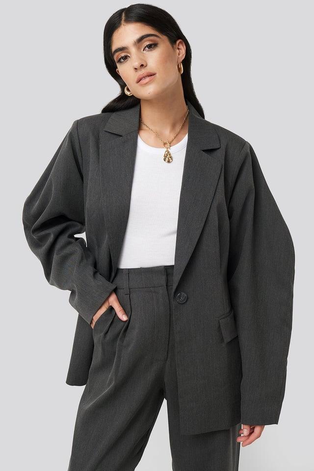 Rounded Shoulder Blazer Dark Grey