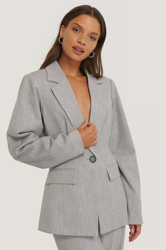 Rounded Shoulder Blazer Light Grey
