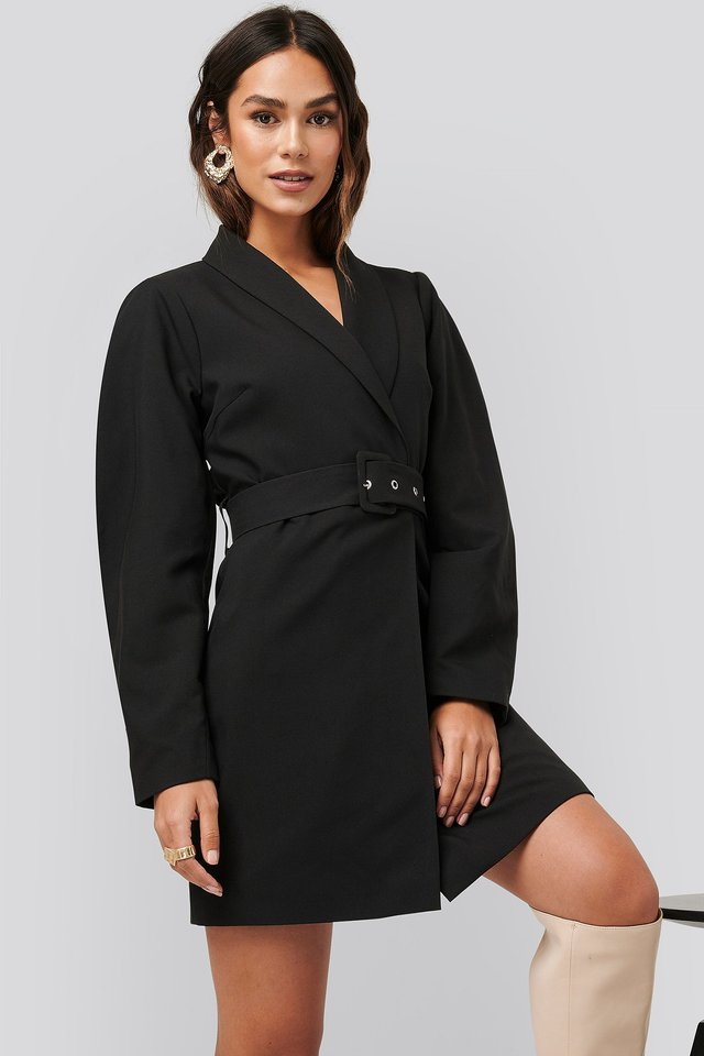Rounded Sleeve Blazer Dress Black