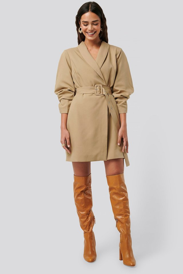 Rounded Sleeve Blazer Dress Beige