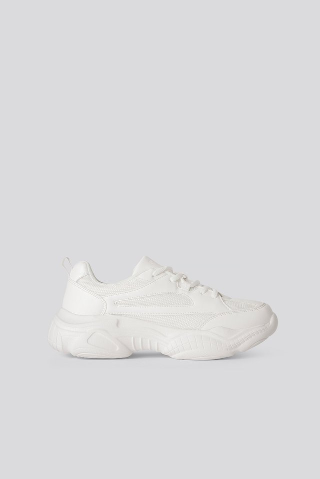 Sporty Sneakers Med Rund Tå White