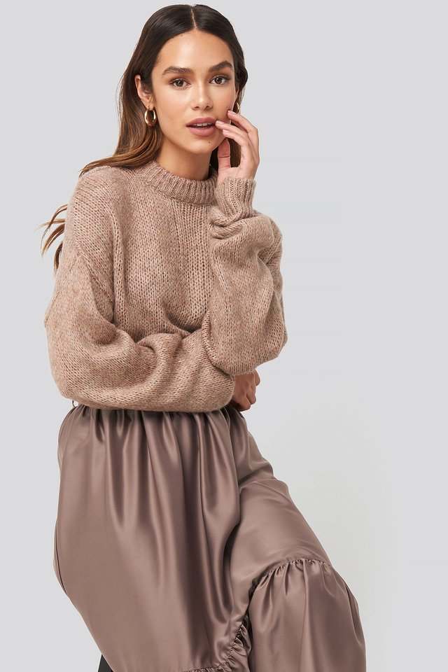 Dusty Pink Round Neck Oversized Knitted Sweater