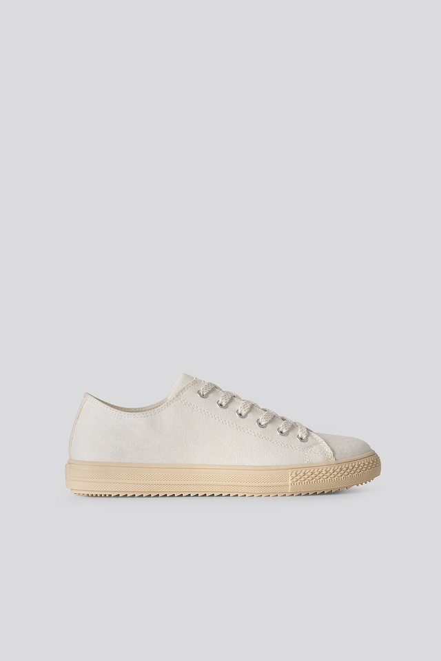 Rubber Sole Canvas Trainers White/Beige