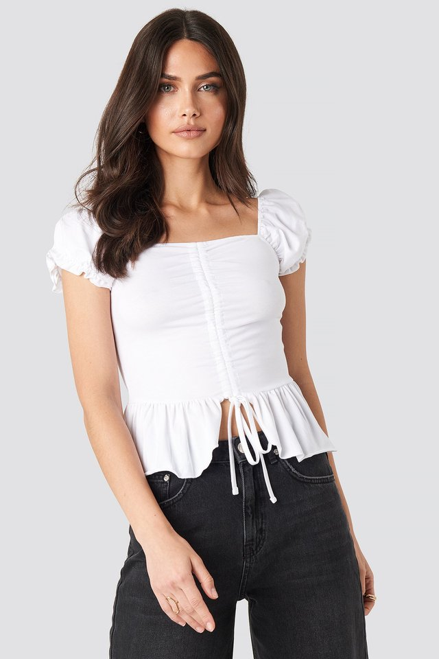 Ruched Bardot Crop Top White