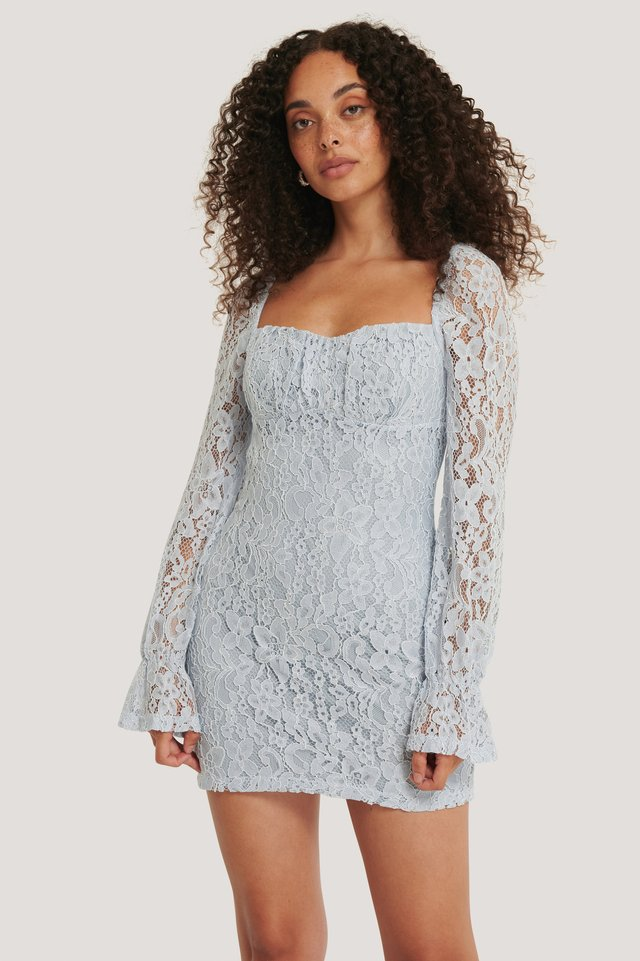 Ruched Mini Lace Dress Dusty Light blue