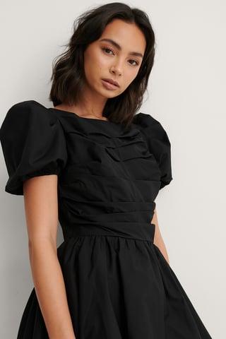 Black Ruched Puff Sleeve Mini Dress